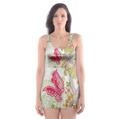 Floral Pattern Background Skater Dress Swimsuit