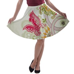 Floral Pattern Background A-line Skater Skirt