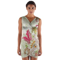 Floral Pattern Background Wrap Front Bodycon Dress