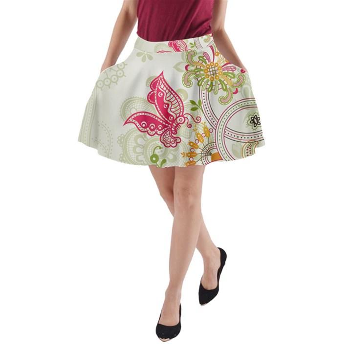 Floral Pattern Background A-Line Pocket Skirt