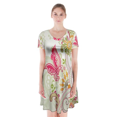 Floral Pattern Background Short Sleeve V-neck Flare Dress