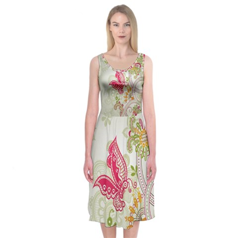 Floral Pattern Background Midi Sleeveless Dress
