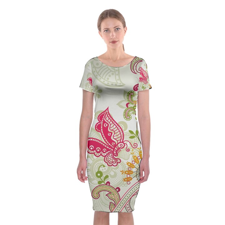 Floral Pattern Background Classic Short Sleeve Midi Dress