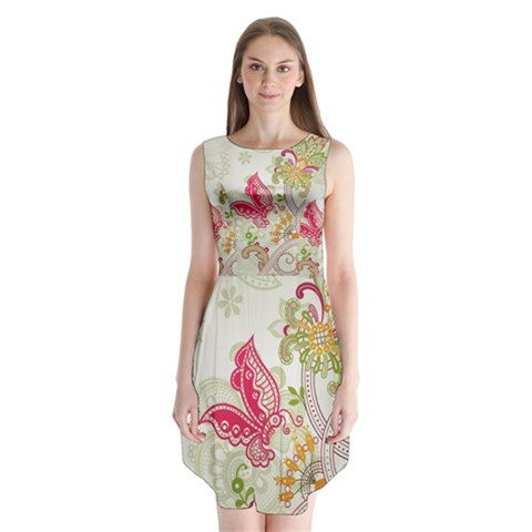 Floral Pattern Background Sleeveless Chiffon Dress