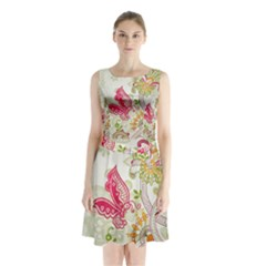 Floral Pattern Background Sleeveless Chiffon Waist Tie Dress