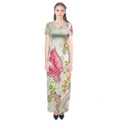 Floral Pattern Background Short Sleeve Maxi Dress