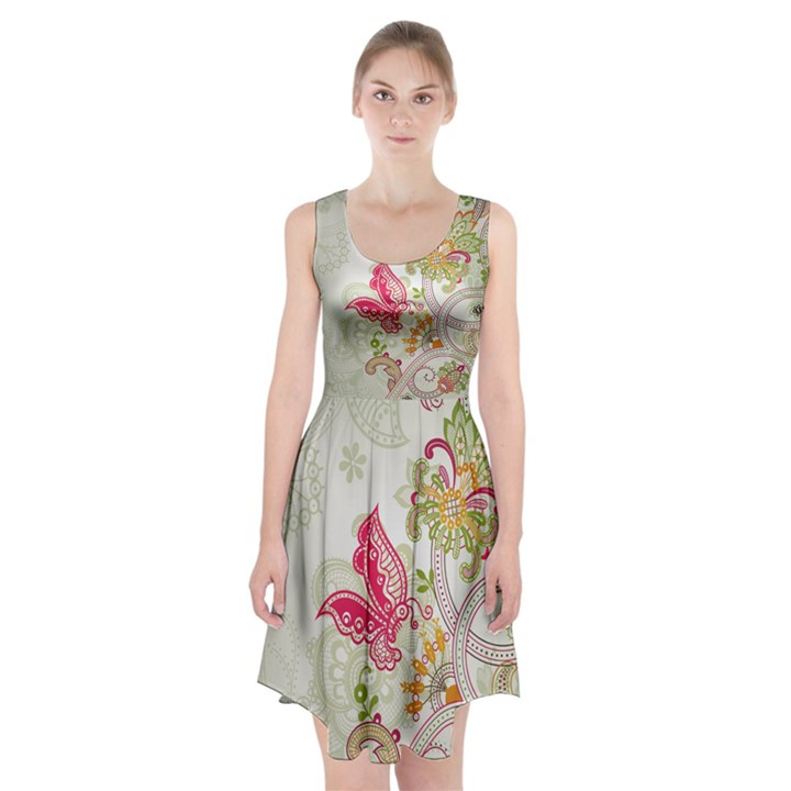 Floral Pattern Background Racerback Midi Dress