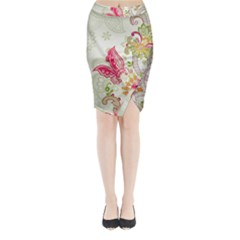 Floral Pattern Background Midi Wrap Pencil Skirt