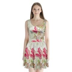 Floral Pattern Background Split Back Mini Dress