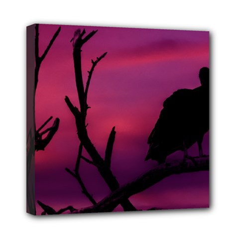Vultures At Top Of Tree Silhouette Illustration Mini Canvas 8  X 8