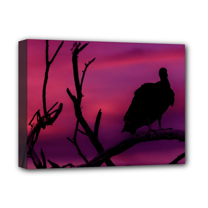 Vultures At Top Of Tree Silhouette Illustration Deluxe Canvas 16  x 12