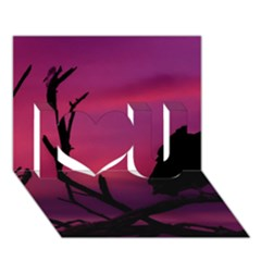 Vultures At Top Of Tree Silhouette Illustration I Love You 3d Greeting Card (7x5)
