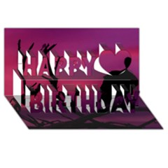 Vultures At Top Of Tree Silhouette Illustration Happy Birthday 3D Greeting Card (8x4)