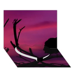 Vultures At Top Of Tree Silhouette Illustration Heart Bottom 3D Greeting Card (7x5)