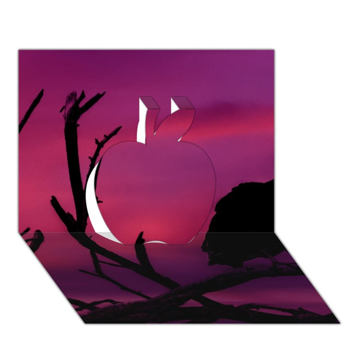 Vultures At Top Of Tree Silhouette Illustration Apple 3D Greeting Card (7x5)