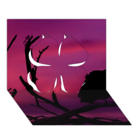 Vultures At Top Of Tree Silhouette Illustration Clover 3D Greeting Card (7x5)