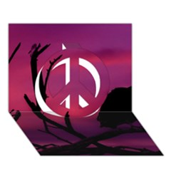 Vultures At Top Of Tree Silhouette Illustration Peace Sign 3D Greeting Card (7x5)