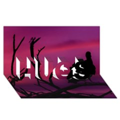 Vultures At Top Of Tree Silhouette Illustration Hugs 3d Greeting Card (8x4)