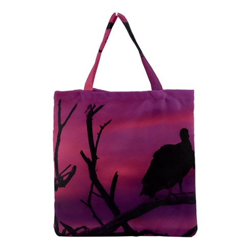 Vultures At Top Of Tree Silhouette Illustration Grocery Tote Bag