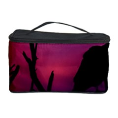 Vultures At Top Of Tree Silhouette Illustration Cosmetic Storage Case