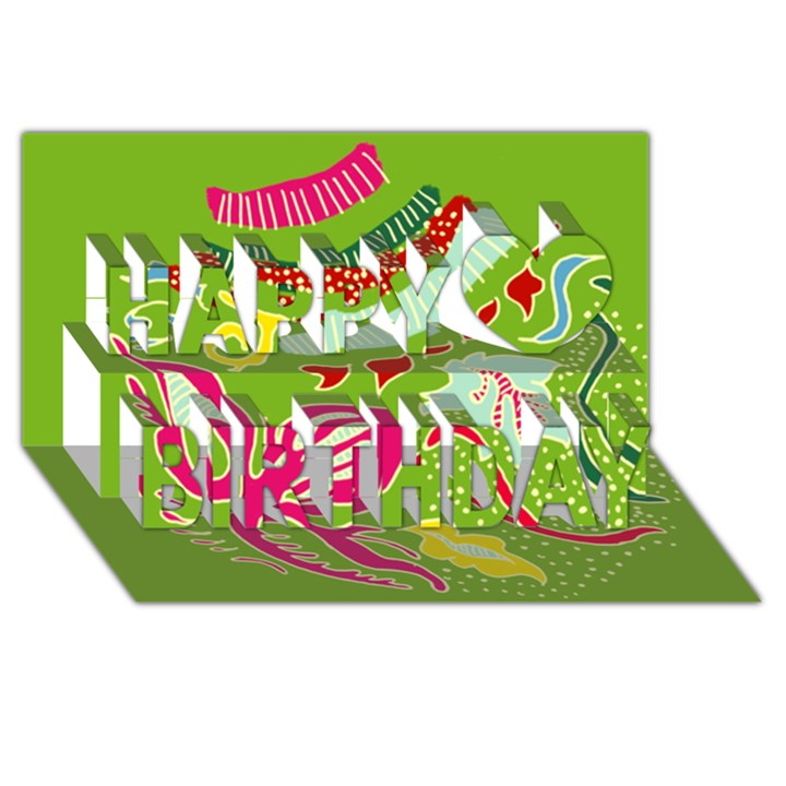 Green Organic Abstract Happy Birthday 3D Greeting Card (8x4)