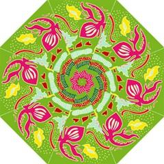 Green Organic Abstract Hook Handle Umbrellas (medium)
