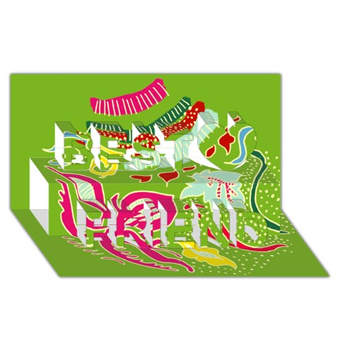 Green Organic Abstract Best Friends 3D Greeting Card (8x4)