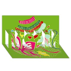 Green Organic Abstract MOM 3D Greeting Card (8x4)