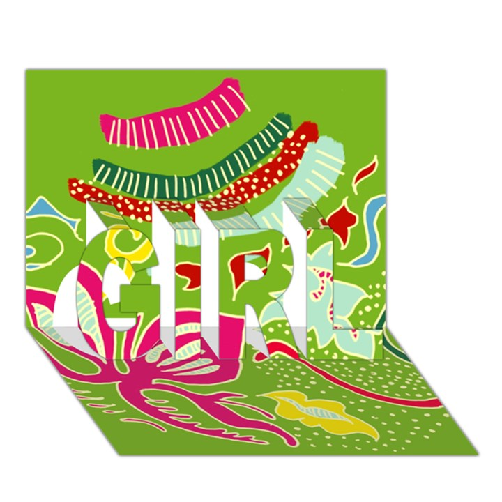 Green Organic Abstract GIRL 3D Greeting Card (7x5)