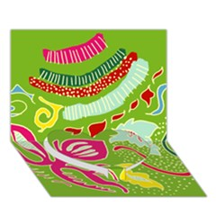 Green Organic Abstract Heart Bottom 3D Greeting Card (7x5)