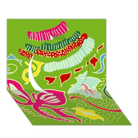 Green Organic Abstract Circle 3D Greeting Card (7x5)