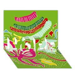 Green Organic Abstract Hope 3d Greeting Card (7x5)