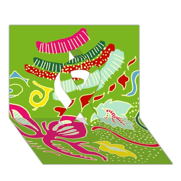 Green Organic Abstract Ribbon 3D Greeting Card (7x5)