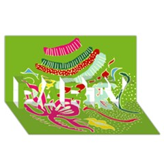 Green Organic Abstract PARTY 3D Greeting Card (8x4)