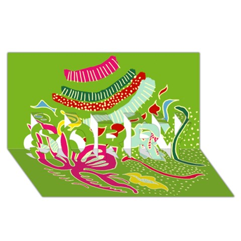Green Organic Abstract SORRY 3D Greeting Card (8x4)