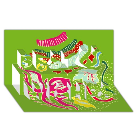 Green Organic Abstract Best Wish 3D Greeting Card (8x4)