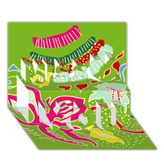 Green Organic Abstract Miss You 3D Greeting Card (7x5)