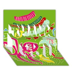 Green Organic Abstract THANK YOU 3D Greeting Card (7x5)
