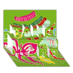Green Organic Abstract Take Care 3d Greeting Card (7x5)
