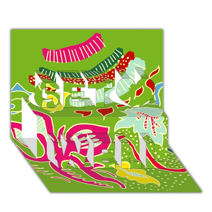 Green Organic Abstract Get Well 3D Greeting Card (7x5)