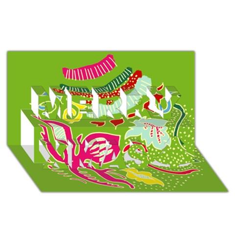 Green Organic Abstract Merry Xmas 3D Greeting Card (8x4)