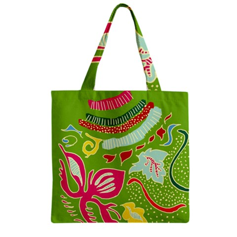 Green Organic Abstract Zipper Grocery Tote Bag