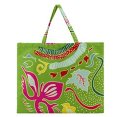 Green Organic Abstract Zipper Large Tote Bag