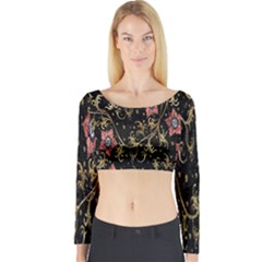 Floral Pattern Background Long Sleeve Crop Top