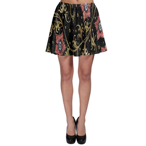 Floral Pattern Background Skater Skirt
