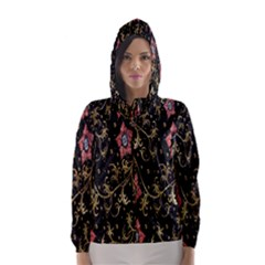 Floral Pattern Background Hooded Wind Breaker (Women)