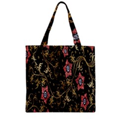 Floral Pattern Background Zipper Grocery Tote Bag