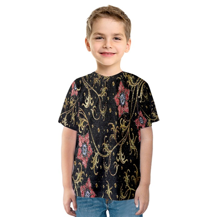 Floral Pattern Background Kids  Sport Mesh Tee