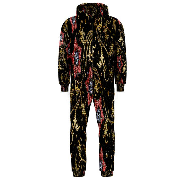 Floral Pattern Background Hooded Jumpsuit (Men)