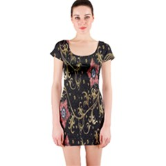 Floral Pattern Background Short Sleeve Bodycon Dress